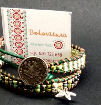 moneda acero cuero artesania boho unico