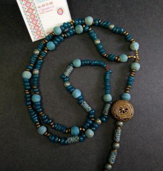 Collar boho turquesa bronce calado unico (Copy)