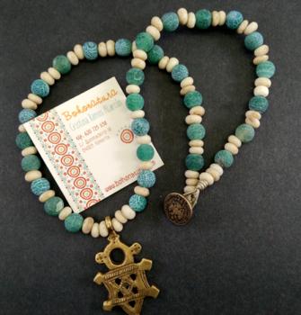 Collar corto cruz Copta agata verde (Copy)