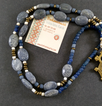 polvo de coral azul y bronce boho unico (Copy)