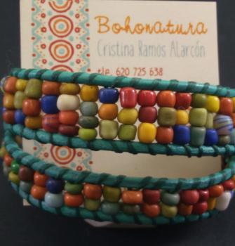 cuero boho colores brazalete artesanía (Copy)